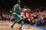 Boston Celtics v New York Knicks - Game Four  New York  NY - April 24: Carmelo Anthony and Kevin Ga