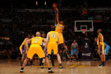 New Orleans Hornets v Los Angeles Lakers - Game Five  Los Angeles  CA - April 26: Emeka Okafor and