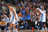 Oklahoma City Thunder v Denver Nuggets - Game 4  Denver  CO - April 25: Kendrick Perkins and Nene H