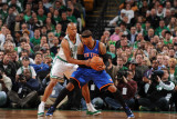 New York Knicks v Boston Celtics - Game Two  Boston  MA - April 19: Carmelo Anthony and Ray Allen