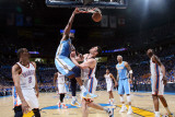 Denver Nuggets v Oklahoma City Thunder - Game One  Oklahoma City  OK - April 17: Nene Hilario and N