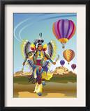 American Indian Dancer and Hot Air Balloons  Grouped Elements
