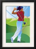 A Female Golfer on the Follow-Through of Driving a Ball
