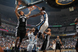 San Antonio Spurs v Memphis Grizzlies - Game Four  Memphis  TN - APRIL 25: OJ Mayo and George Hil