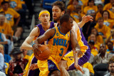Los Angeles Lakers v New Orleans Hornets - Game Three  New Orleans  LA - APRIL 22: Chris Paul and P