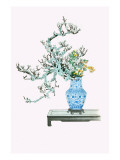 Yamanashi & Takejimayuri (Wild Pear And Lily) In a Blue And White Porcelain Vase