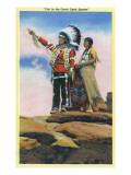 Native American Couple on Rocks