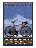 Mountain Bike in Snow - Portland  Oregon