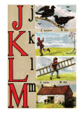 J  K  L  M Illustrated Letters