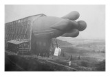 Clement Bayard Dirigible Half Way In Hangar