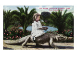 Los Angeles  California - Girl Riding Alligator at the Farm