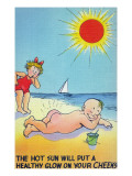 Comic Cartoon - Hot Sun Putting Healthy Glow on Cheeks; Boy Nude Sunbathing