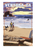 Ventura  California - Surfing Beach Scene