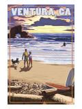 Ventura  California - Surfing Beach Scene