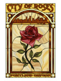 Rose and Skyline Stained Glass - Portland  Oregon