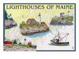 Lighthouses of Maine - Nautical Chart