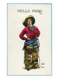 Comic Cartoon - Cowgirl Saying Hello  Pard