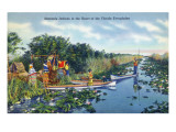 Everglades Nat'l Park  Florida - Seminole Indians in Longboats