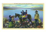 San Carlos Reservation  Arizona - Apache Family  Kids on Horseback