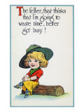 Comic Cartoon - Cowgirl Tells Boys to Get Busy  not Waste Time
