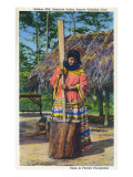 Everglades Nat'l Park  Florida - Soffkee Mill; Seminole Woman Grinding Corn