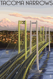 Tacoma  Washington - Narrows Bridge and Rainier