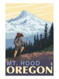 Mt Hood Hiker Scene Poster