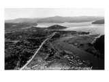 Coeur d'Alene  Idaho - Aerial View of Town  Spokane River