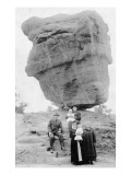 Colorado Springs  Colorado - Family Posing by Balanced Rock in Garden of Gods