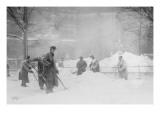 Shoveling Snow In City Hall Park  Manhattan  NYC