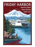 Friday Harbor  Washington - Ferry Scene with Boy