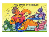 Comic Cartoon - The Battle of the Bulge; Woman Eating Snacks