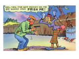 Comic Cartoon - Dirty Old Lady Wants Robber to Frisk Her