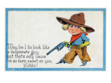 Comic Cartoon - Desperate Cowboy Sweet on You