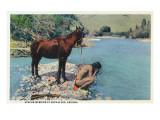 Arizona - Apache Man Drinking at Navajo Rio