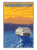 Washington - Ferry and Mountains