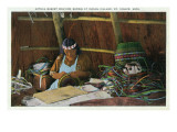 St Ignace  Michigan - Native American Woman Basket Weaving