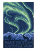 Waterton National Park  Canada - Northern Lights & Wolf