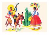 Burro Rider Serenades La Senorita Reproduction d'art