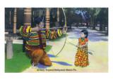 Miami  Florida - Tropical Hobbyland; Seminole Dad Showing Daughter Archery