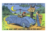 Comic Cartoon - Car Out of Gas; Lucky Break in Courting Days  now Just Pain in Neck