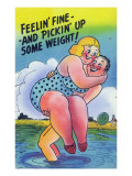 Comic Cartoon - Feelin&#39; Fine and Picking Up Weight; Man Lifts Big Girl