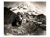 Mount Rainier  Two Women and a Man on Horse Trail  1914