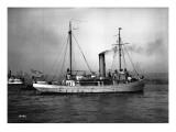 Steamship in Harbor  Circa 1909