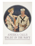 """America Calls  Enlist in the Navy"" Poster  1917"