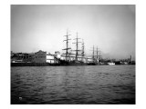 Tall Ships Moored at Dock  Port of Seattle  Circa 1913