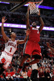 Miami Heat v Chicago Bulls - Game Two  Chicago  IL - MAY 18: LeBron James and Derrick Rose