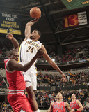 Chicago Bulls v Indiana Pacers - Game Three  Indianapolis  IN - APRIL 21: Paul George and Luol Deng
