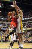 Chicago Bulls v Indiana Pacers - Game Three  Indianapolis  IN - APRIL 21: Derrick Rose and Jeff Fos
