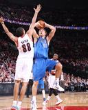 Dallas Mavericks v Portland Trail Blazers - Game Three  Portland  OR - APRIL 21: Dirk Nowitzki and